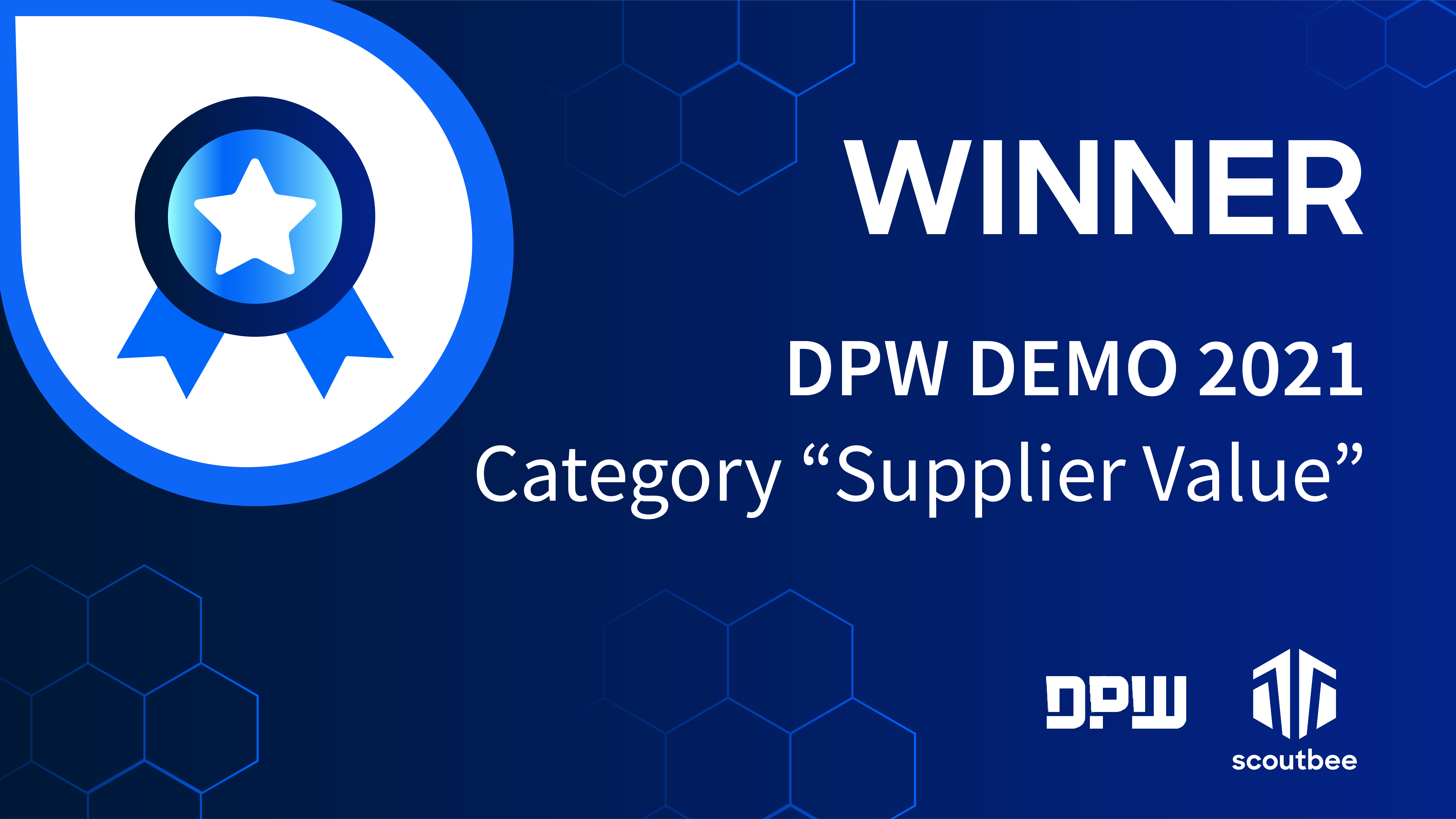 """scoutbee wins DPW Demo 2021 award in the category """"Supplier Value"""""""
